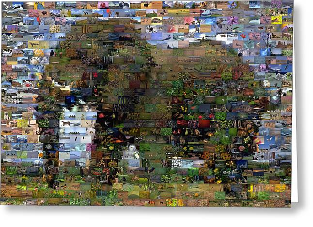 Greeting Card featuring the mixed media African Elephant Wild Animal Mosaic by Paul Van Scott