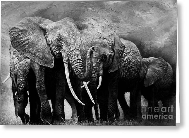African Elephants Group  Greeting Card