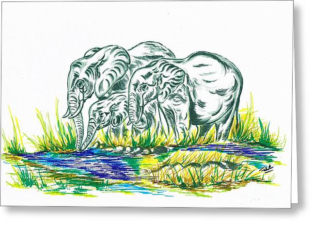 African Family Elephant's Greeting Card