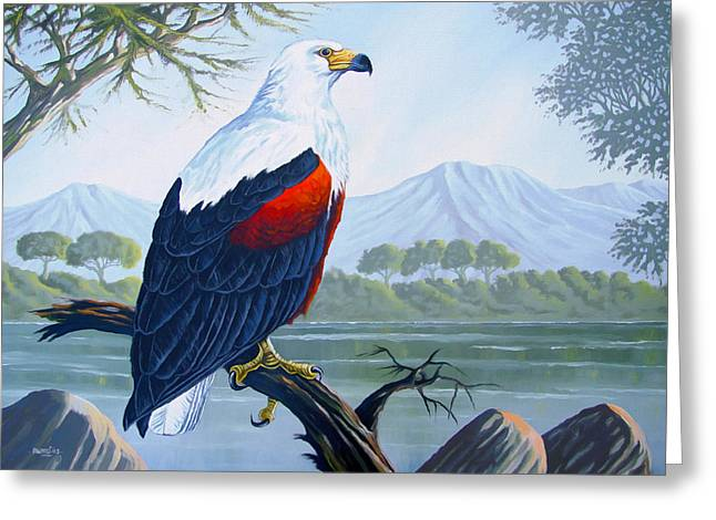 Greeting Card featuring the painting African Fish Eagle by Anthony Mwangi