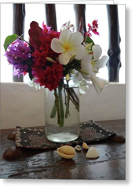 African Flowers And Shells Greeting Card