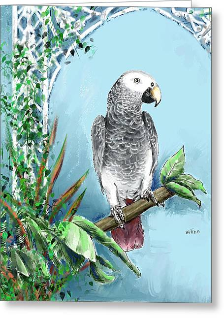 African Grey Parrot Greeting Card by Arline Wagner