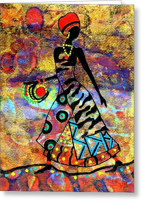 African Healer New Color Greeting Card by Connie Valasco