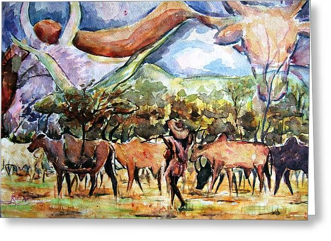 African Herdsmen Greeting Card by Bankole Abe
