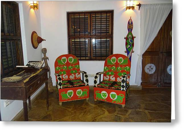 African Interior Design 5 Beaded Chairs Greeting Card