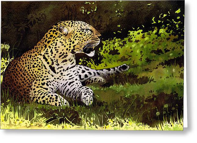 African Leopard Greeting Card by Paul Dene Marlor