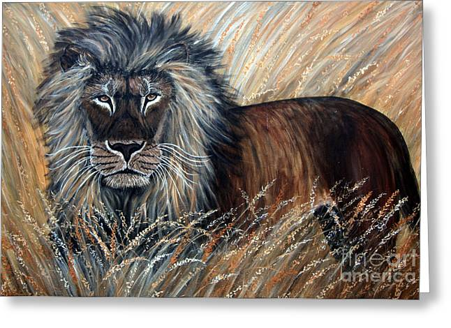 African Lion 2 Greeting Card by Nick Gustafson
