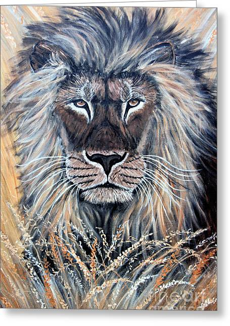 African Lion Greeting Card by Nick Gustafson