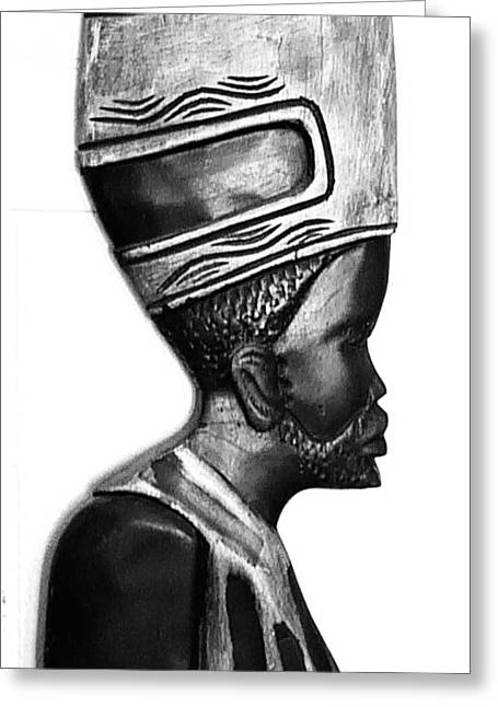 African Man Headress Greeting Card by Sheryl Chapman Photography