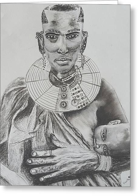 African Mother Greeting Card by Adekunle Ogunade