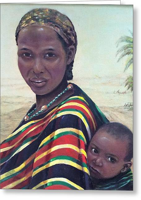 Greeting Card featuring the painting African Mother And Child by Laila Awad Jamaleldin