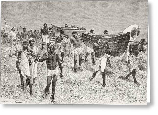 African Porters Carrying Henry Morton Greeting Card
