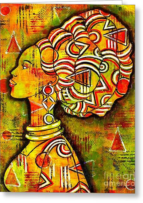 African Queen Greeting Card by Julie Hoyle
