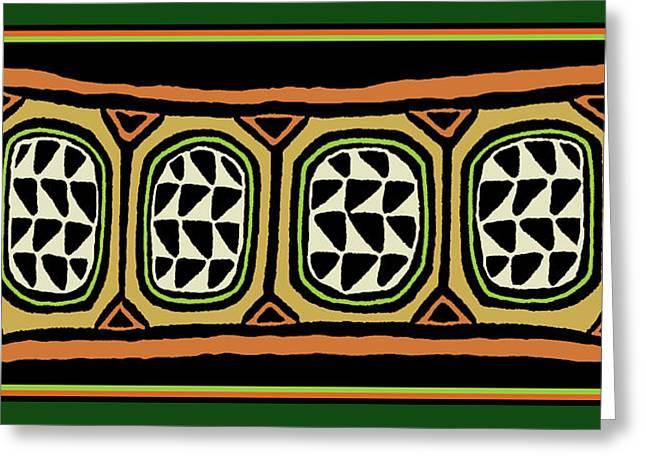 Greeting Card featuring the digital art African Tribal Textile by Vagabond Folk Art - Virginia Vivier