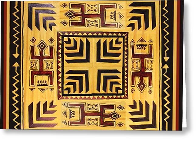 Greeting Card featuring the digital art African Tribal Spirits by Vagabond Folk Art - Virginia Vivier