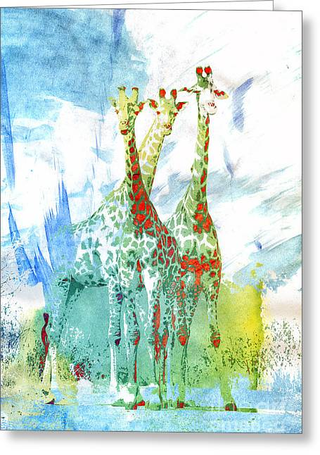 African Trio Greeting Card by Jutta Maria Pusl