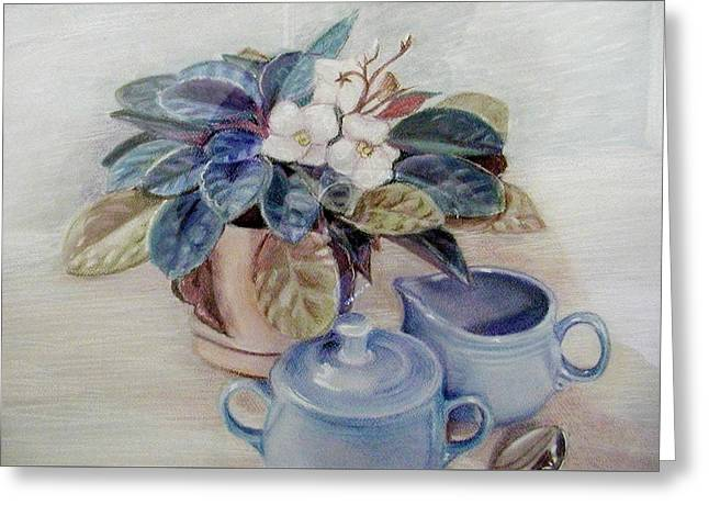 African Violet Still Life Greeting Card