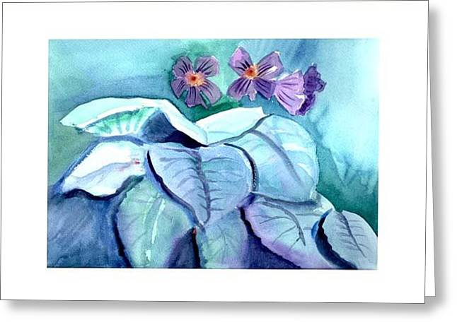 African Violets Greeting Card by Janet Doggett