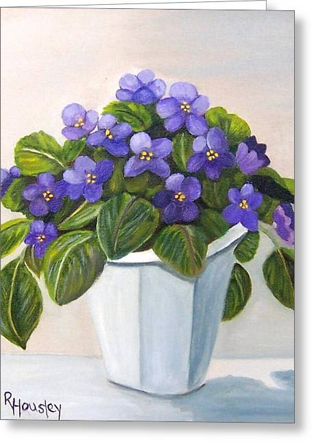 Ruth Housley Greeting Cards - African Violets SOLD Greeting Card by Ruth  Housley