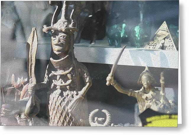African Warrior Figurine Greeting Card
