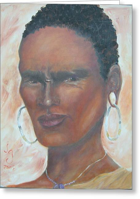 African Warrior Greeting Card by Judie Giglio