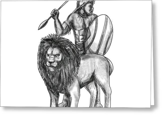 African Warrior Spear Lion Tattoo Greeting Card by Aloysius Patrimonio