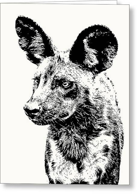 African Wild Dog On Alert Greeting Card