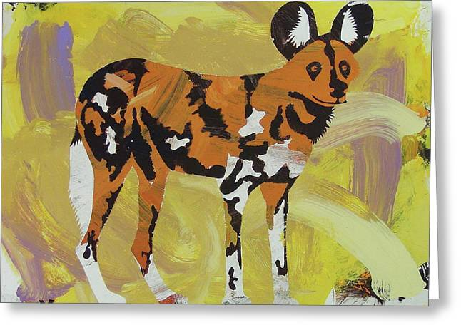 Greeting Card featuring the painting African Wild Dog by Candace Shrope