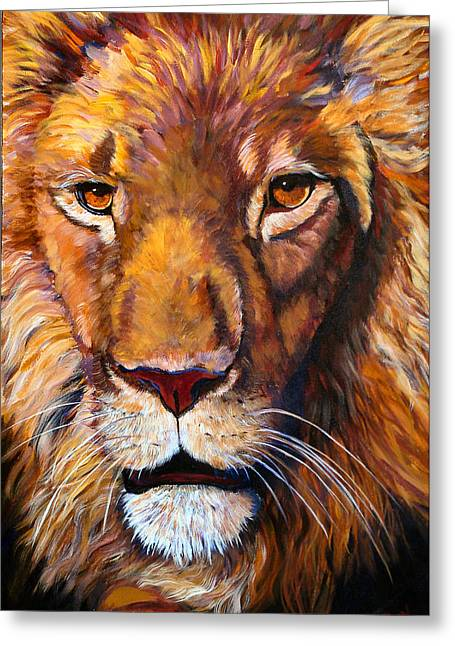 African Wilddlife Lion Faces Of Nature Series Greeting Card