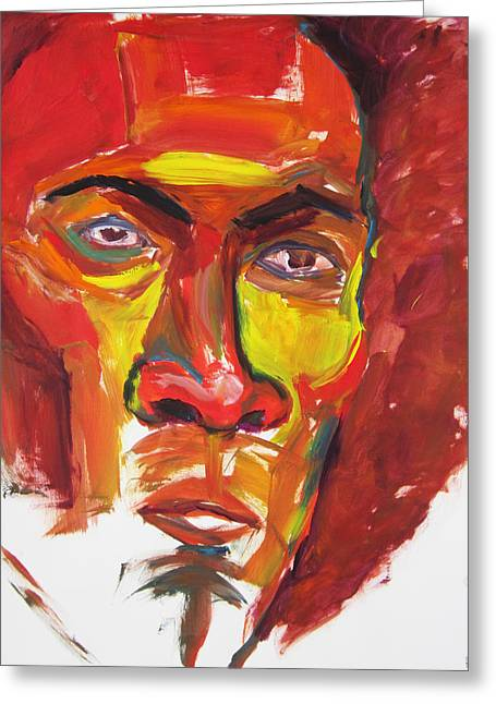 Greeting Card featuring the painting Afro by Shungaboy X