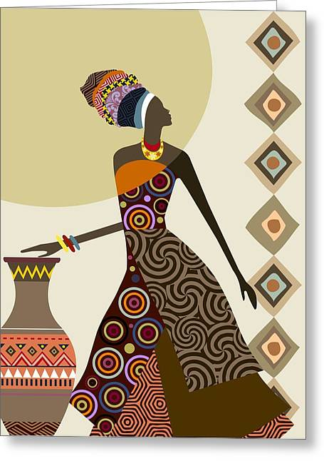 Afrocentric Chic IIi Greeting Card by Lanre Studio