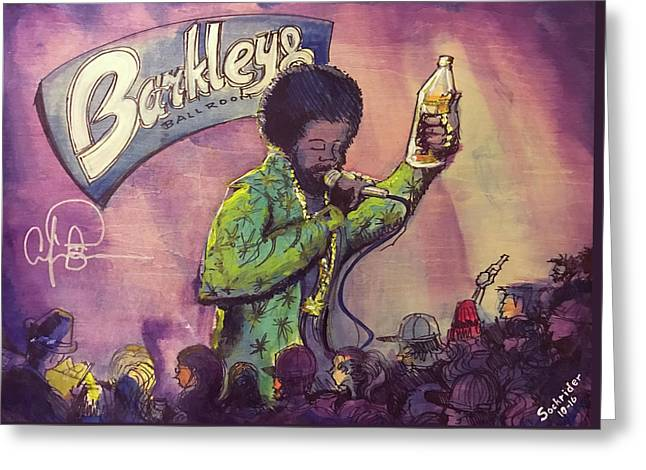 Greeting Card featuring the painting Afroman At Barkleys by David Sockrider