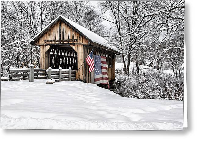 After A Winter Snow Storm Cilleyville Covered Bridge  Greeting Card