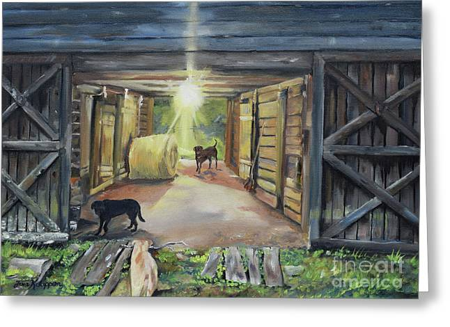 After Hours In Pa's Barn - Barn Lights - Labs Greeting Card by Jan Dappen