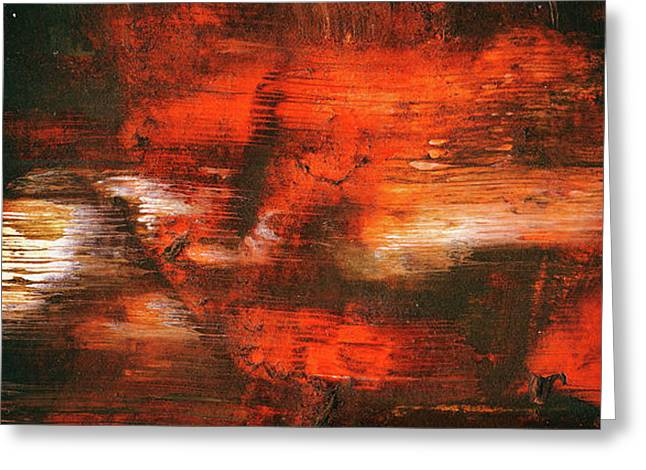 After Midnight - Black Orange And White Contemporary Abstract Art Greeting Card