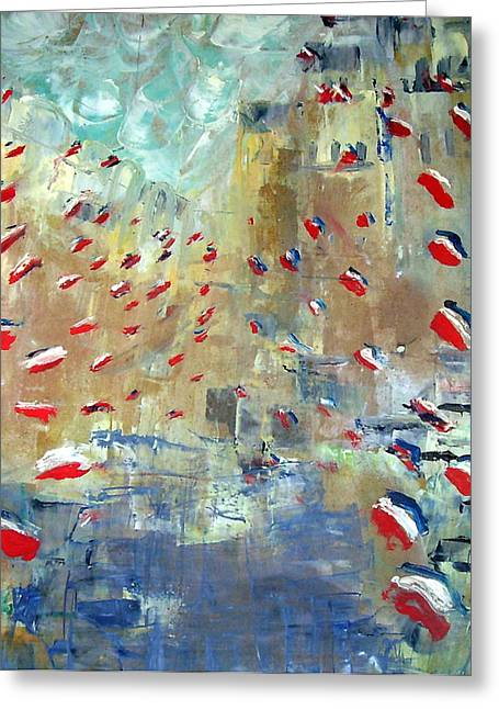 After Monet's Rue Montorgueil Greeting Card by Michela Akers