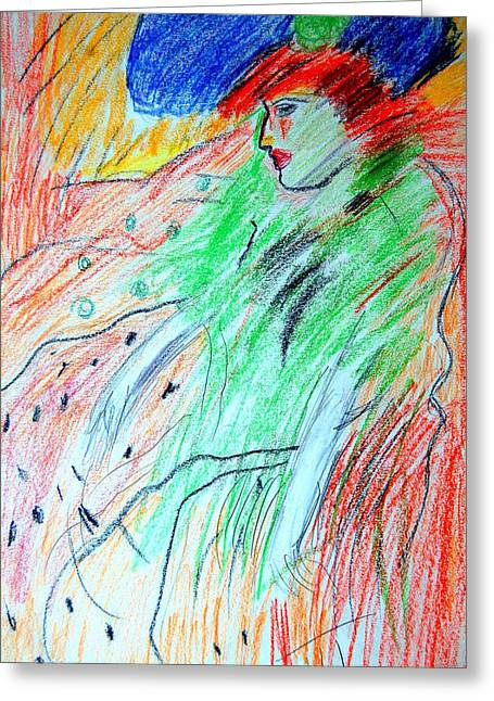 Pablo Picasso Greeting Cards - after Picasso Woman In Blue Hat Greeting Card by Mia Alexander