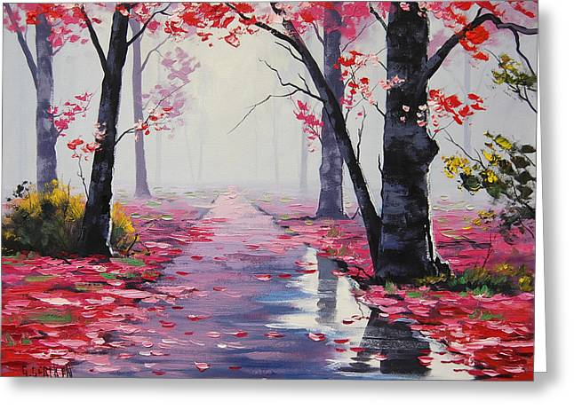 Pink Road Greeting Cards - After Rain Greeting Card by Graham Gercken