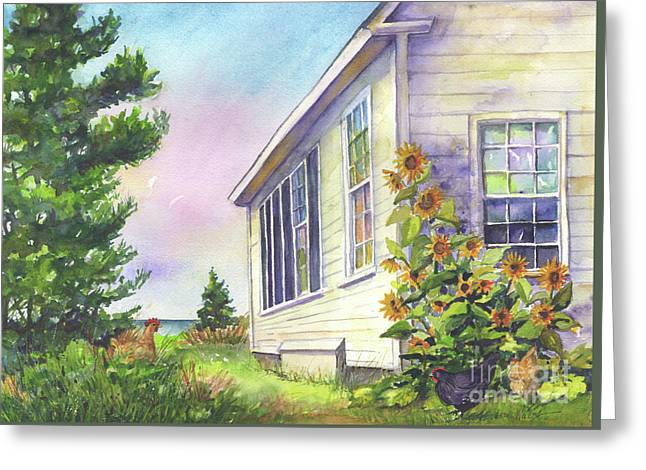 After School Activities At Monhegan School House Greeting Card by Susan Herbst