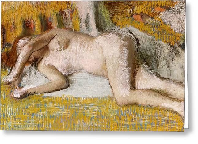 After The Bath, 1885 Greeting Card by Edgar Degas
