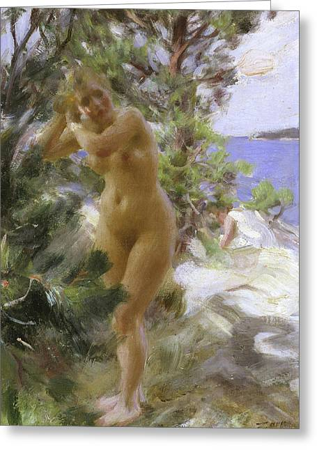After The Bath, 1895 Greeting Card by Anders Leonard Zorn