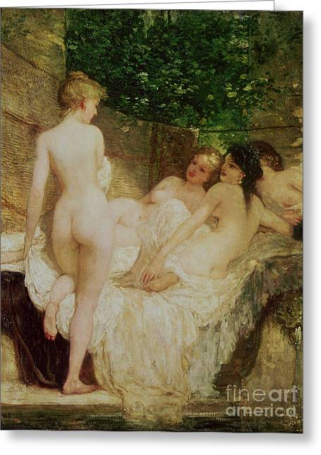 Celestial Paintings Greeting Cards - After the Bath Greeting Card by Karoly Lotz