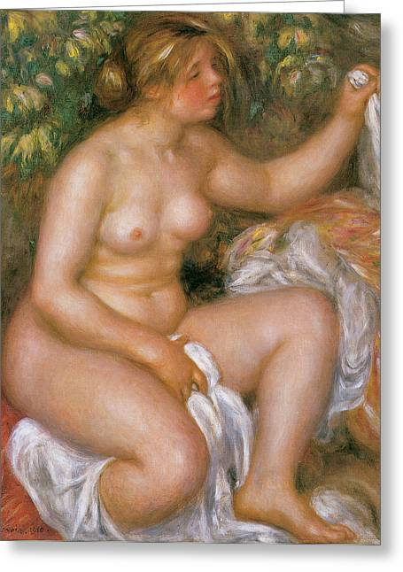 Renoir Greeting Cards - After the bath Greeting Card by Pierre-Auguste Renoir