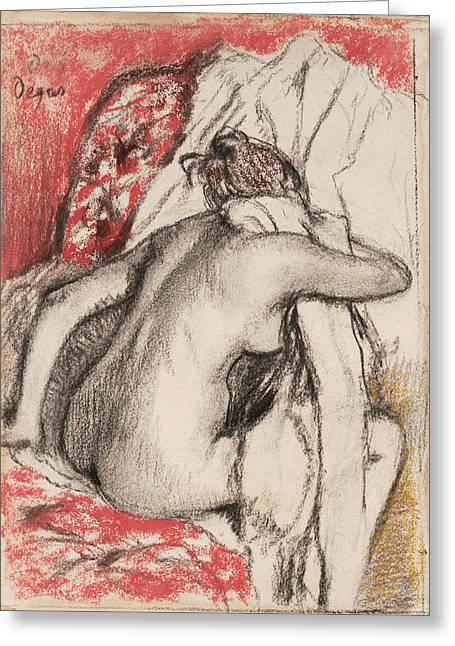 After The Bath Seated Woman Drying Herself Greeting Card by Edgar Degas