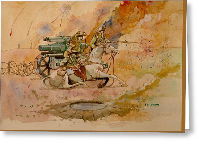 Greeting Card featuring the painting After The Charge by Ray Agius