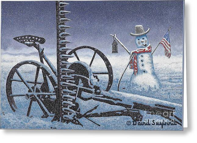 After The Harvest Snowman Greeting Card by John Stephens