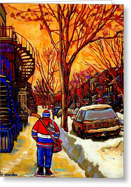 After The Hockey Game A Winter Walk At Sundown Montreal City Scene Painting  By Carole Spandau Greeting Card