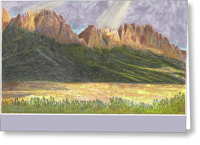 Greeting Card featuring the painting After The Monsoon Organ Mountains by Jack Pumphrey