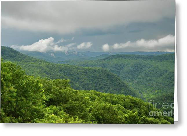 Greeting Card featuring the photograph After The Rain - The Bluestone Gorge At Pipestem State Park by Kerri Farley