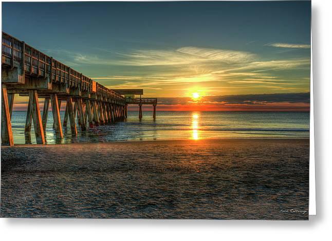 After The Storm Tybee Island Pier Sunrise Art Greeting Card by Reid Callaway
